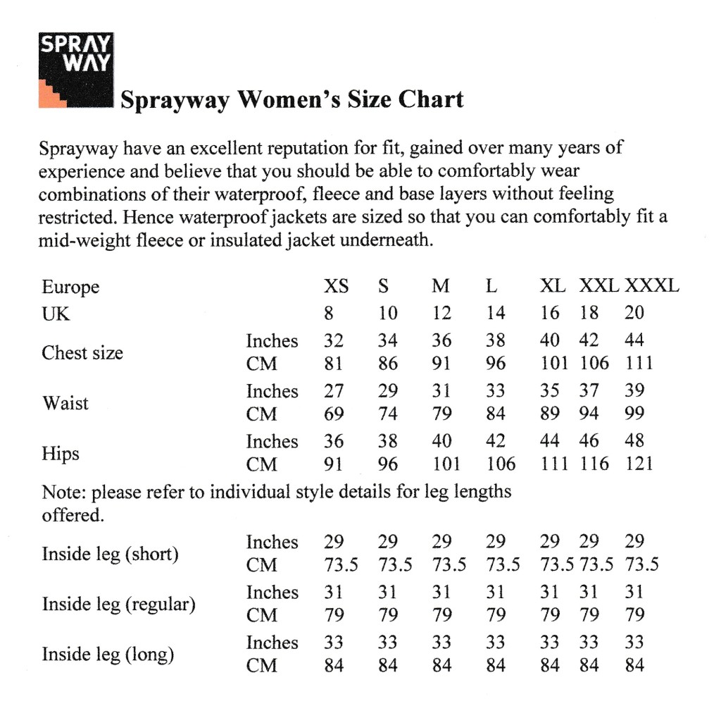 Sprayway Womens Size Chart