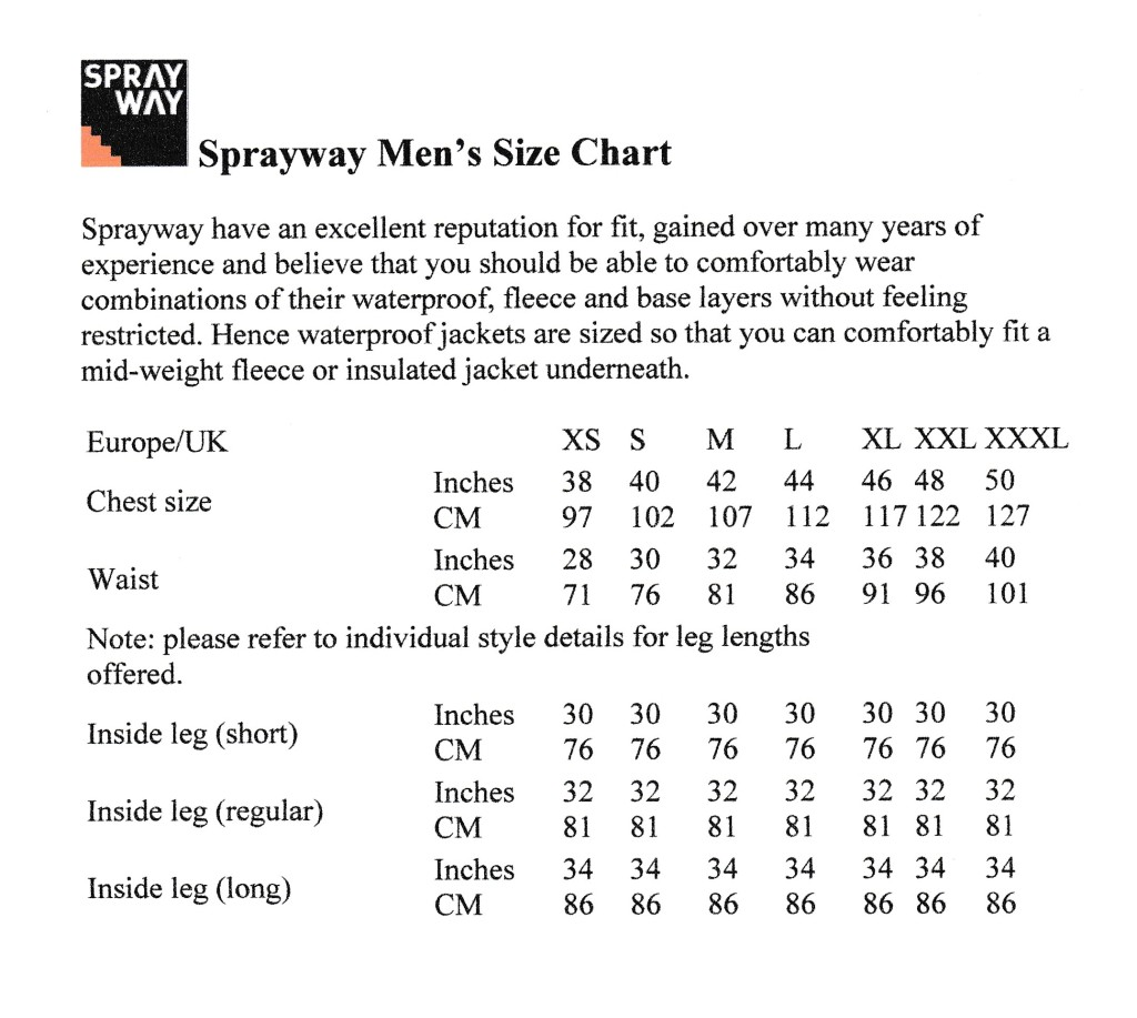 Sprayway Mens Size Chart