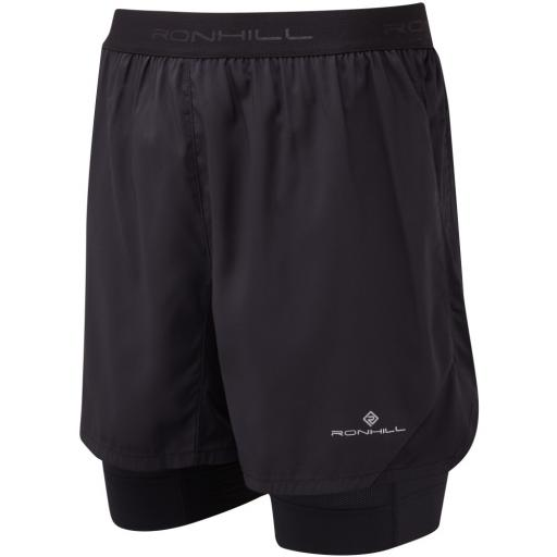 Ronhill Men's Stride Revive Twin Skin Lightweight Running Shorts - Black