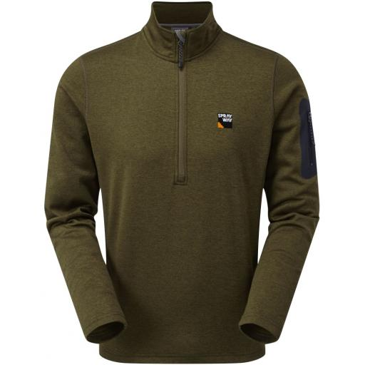 Sprayway Men's Saul Lightweight Fleece Half-Zip Pullover Top - Olive