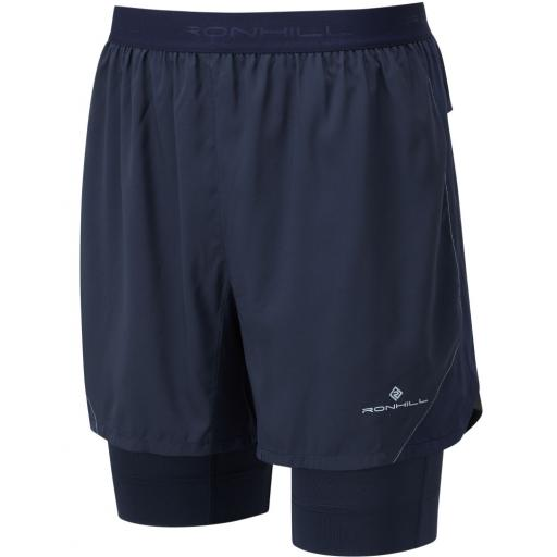 Ronhill Men's Tech Revive Twin Skin Lightweight Running Shorts - Blue
