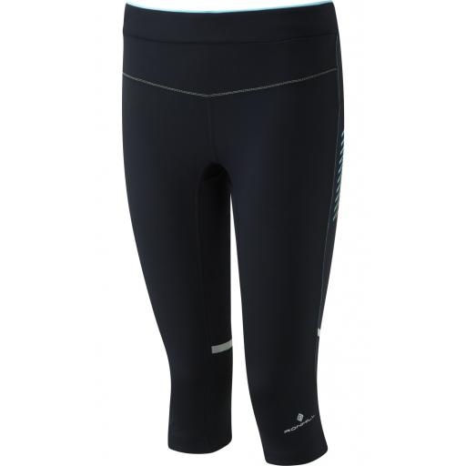 Ronhill Women's Stride Stretch Running Capri - Black / Peacock