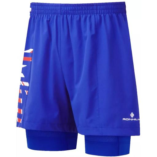 Ronhill Men's Tech Marathon Twin Skin Running Shorts - Blue