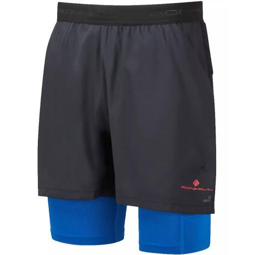 Ronhill Men's Tech Ultra Twin Skin Running Shorts - Black / Blue