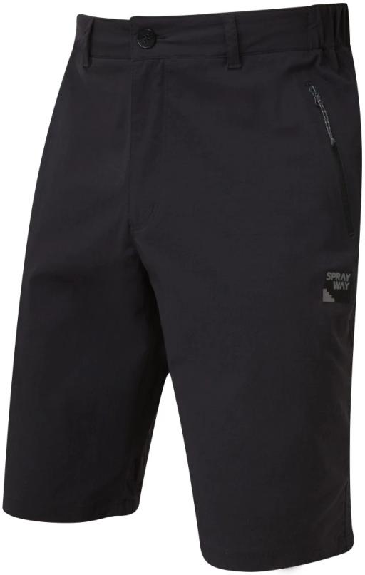 Sprayway Mens Compass Shorts Black Front Grey Logo