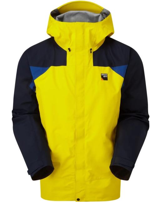Sprayway Mens Torridon Waterproof Jacket Front Lightning Yellow Blazer Blue Yukon