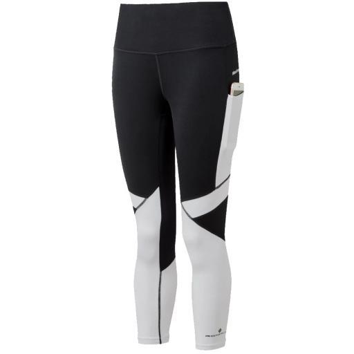 Ronhill Women's Tech Revive Crop Running Tight / Leggings - Black / Bright White