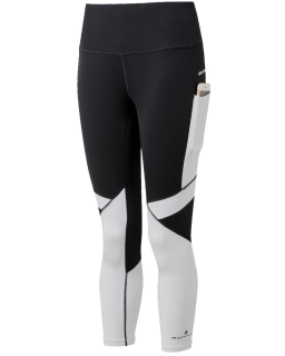 Ronhill Womens Tech Revive Crop Tight Black-Bright White Front