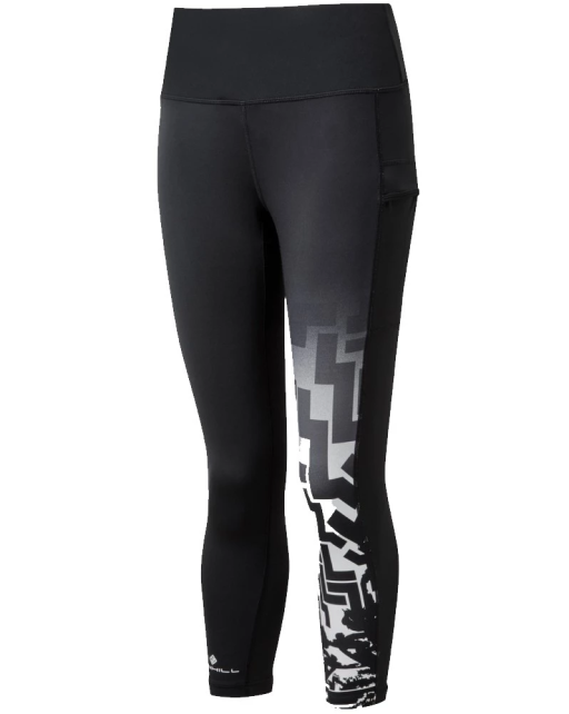Ronhill Womens Life Poise Crop Tight Black MonoGeoAnimal Front