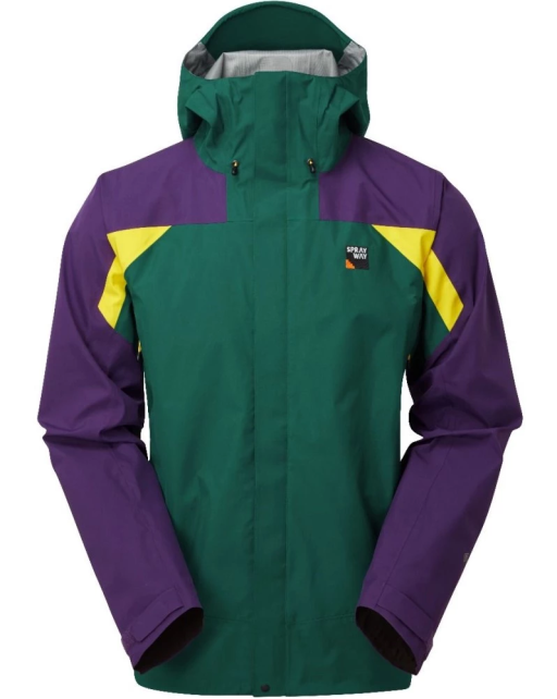 Sprayway Mens Torridon Waterproof Jacket Front Caspian Green Neutron Lightning Yellow