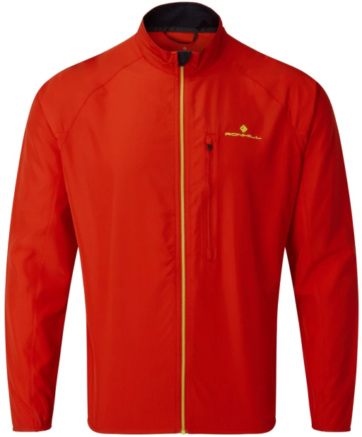 Ronhill Mens Core Jacket Flame Red Fluo Yellow Front